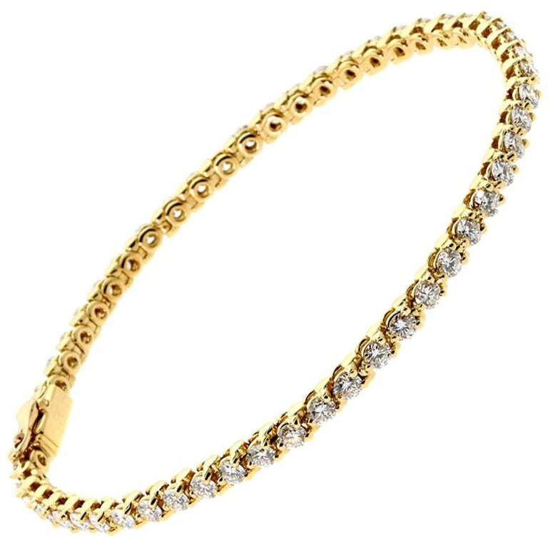 Cartier Diamond Tennis Bracelet Yellow Gold For Sale