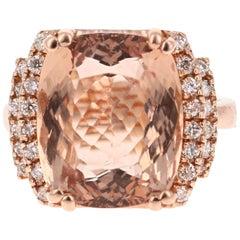 11.14 Carat Morganite Diamond 14 Karat Rose Gold Cocktail Ring