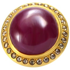 100% Auth Mouawad 22K Yellow Gold Genuine Cabochon Ruby & Natural Diamond Ring