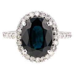 4.73 Carat Blue Sapphire Diamond 14 Karat White Gold Ring