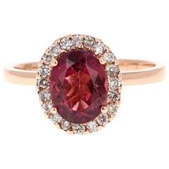 2.03 Carat Hot Pink Tourmaline Diamond 14 Karat Rose Gold Ring