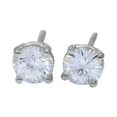1.08 Carat White Gold Round Diamond Solitaire Earrings with Screw Backs