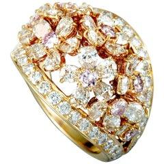Graff Bombé White and Pink Diamond Yellow Gold Flower Ring