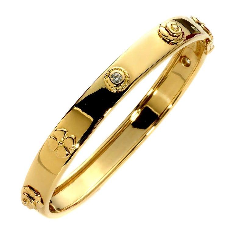 Chanel Camellia Gold Diamond Bangle Bracelet For Sale