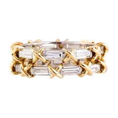 Tiffany & Co. Schlumberger Diamond Baguette Platinum and 18 Karat Gold Band