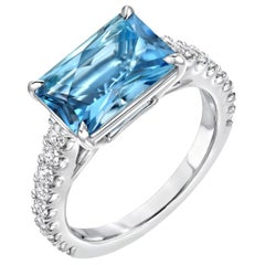 Aquamarine Ring Emerald Cut Diamond Platinum Cocktail Ring