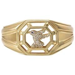 Slane & Slane Yellow Gold Diamond Hummingbird Cuff Bracelet