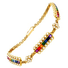 Asprey Rainbow Sapphire Diamond Gold Bracelet