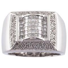 4.00 Carat White Gold H or VS Diamond Plaque Ring