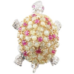 Chrysolberyl, Ruby, and Diamond White Gold Turtle Brooch 0.42 Carat Diamonds