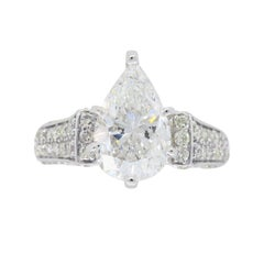 Certified 2.96 Carat Pear Shaped Diamond Engagement Ring