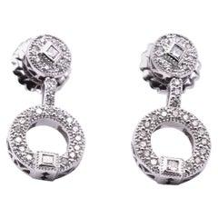 18 Karat White Gold Diamond Drop Earrings