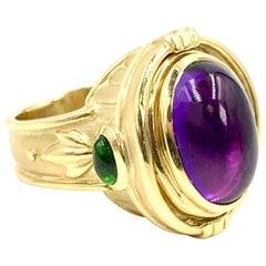 18 Karat Amethyst and Tourmaline Convertible Ring