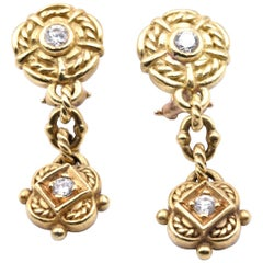 Judith Ripka 18 Karat Yellow Gold Diamond Dangle Earrings