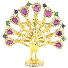 Multi-Gemstone Peacock Brooch with Diamonds, Rubies, Emeralds and Sapphires