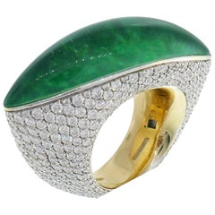 Vhernier Fuseau Diamond White Gold Ring with Jade and Quartz