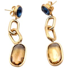MarCo Bicego 18 Karat Yellow Gold Citrine and London Blue Topaz Drop Earrings