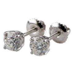 1.10 Carat White Gold Round Brilliant Diamond Screw-Back Stud Earrings
