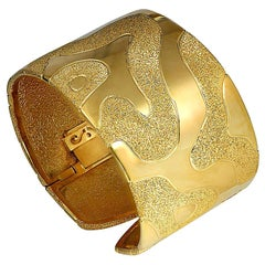 Sterling Silver Yellow Gold Hinged Textured Cuff Bracelet