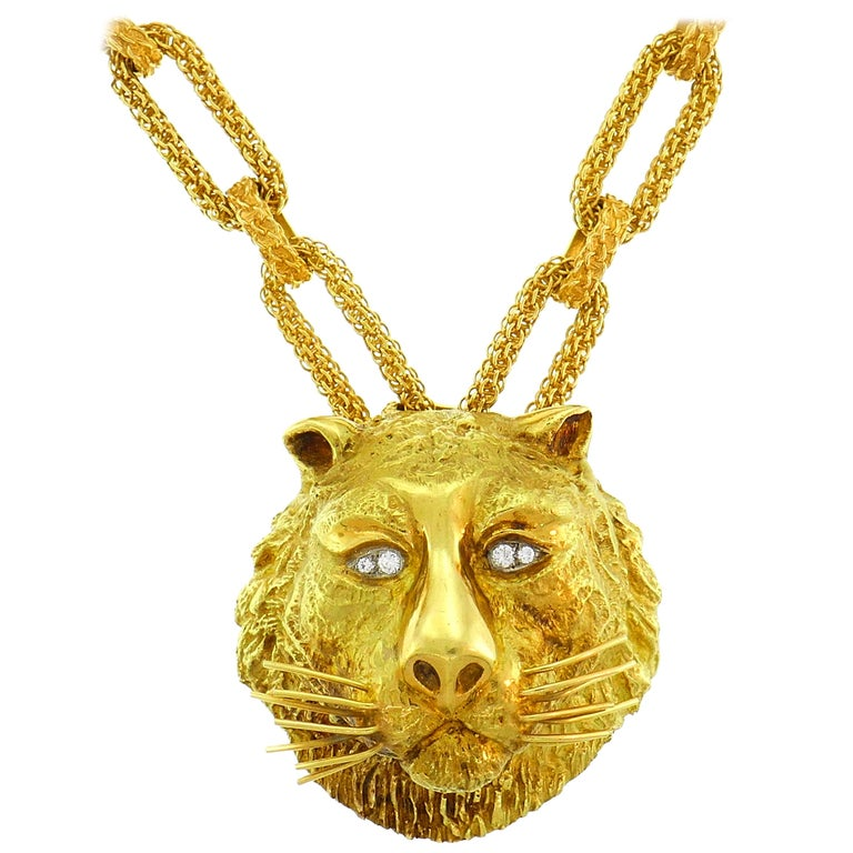 Wander Yellow Gold Leo Pendant Necklace Pin Brooch Zodiac Lion Link Chain, 1970s For Sale