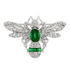 Zambian Emerald 2.10 Carat Diamond Bee Brooch