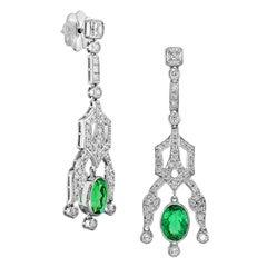 Certified 3.88 Carat Colombia Emerald Diamond Earring