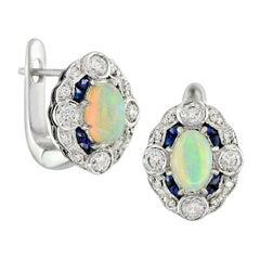 Australian Opal Blue Sapphire Diamond Earring