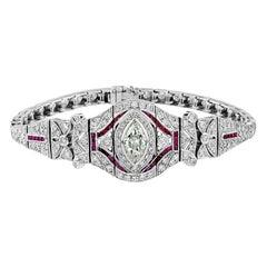 Marquise Diamond 2.50 Carat Ruby Diamond Bracelet