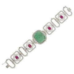 Set in 18K Gold, natural Emerald & natural Ruby convertible bracelet and choker