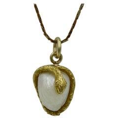 Snake Pendant Baroque Pearl Egg Antique Victorian 14 Karat Gold