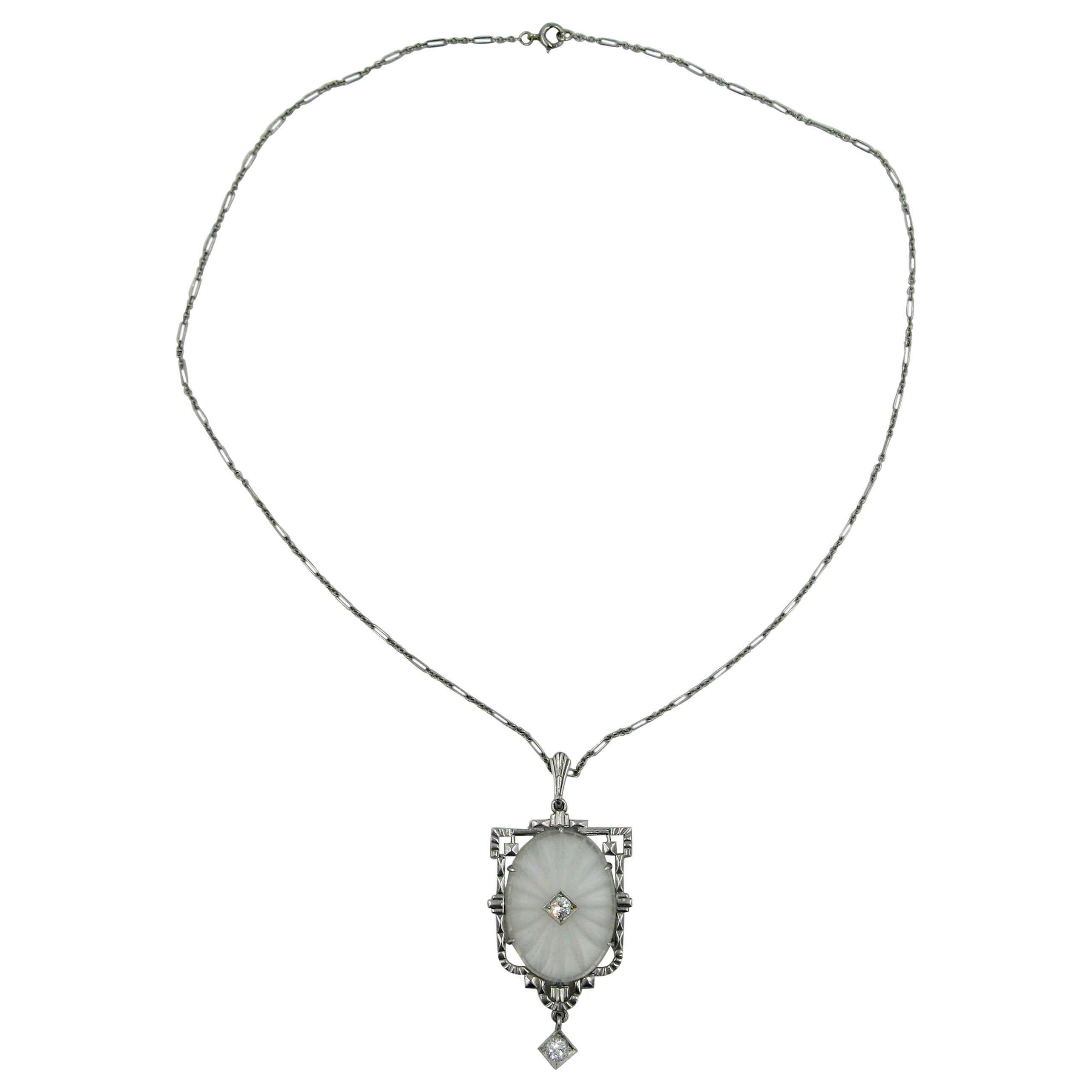 Art Deco Old European Cut Diamond Crystal Pendant Necklace 14 Karat White Gold