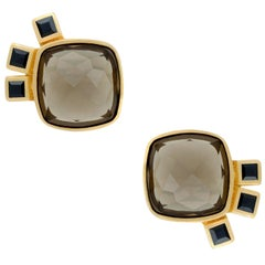 18ct Yellow Gold Vermeil, Smokey Quartz and Black Sapphire Earrings