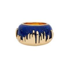 18 Carat Yellow Gold and Lapis Lazuli Manhattan Skyline Cocktail Ring