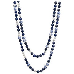 Sterling Silver, Lapis Lazuli, Mother of Pearl and Porcelain Bead Necklace