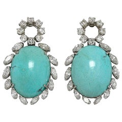 Vintage Turquoise and Diamond 18 Karat Gold Earrings Estate Fine Jewelry