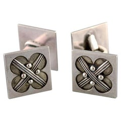 Pair of Georg Jensen Art Deco Cufflinks in Sterling Silver, 1933-1944