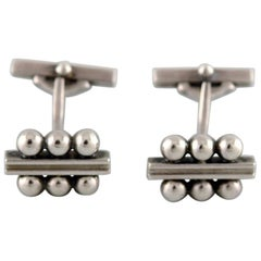 Pair of Georg Jensen Art Deco Cufflinks in Sterling Silver, 1915-1930