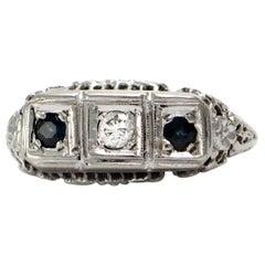 Solid 14 Karat White Gold Antique Genuine Sapphire and Diamond Ring 3.4g