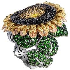 Alex Soldier Diamond Tsavorite Garnet Gold Sunflower Ring