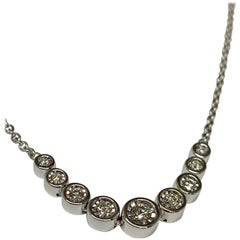 White Gold 0.25 Carat Round Diamond Bezel Necklace