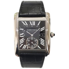 Cartier Tank MC Steel Automatic, Black Dial and Black Strap