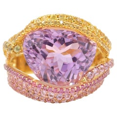 BOON Important 11.63 Carat Kunzite Pink Yellow Sapphire Gold Multi Threads Ring