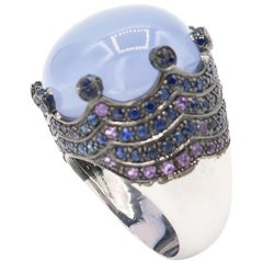 Large 38.23 Carat Cabochon Chalcedony Crown Sapphire Amethyst White Gold Ring