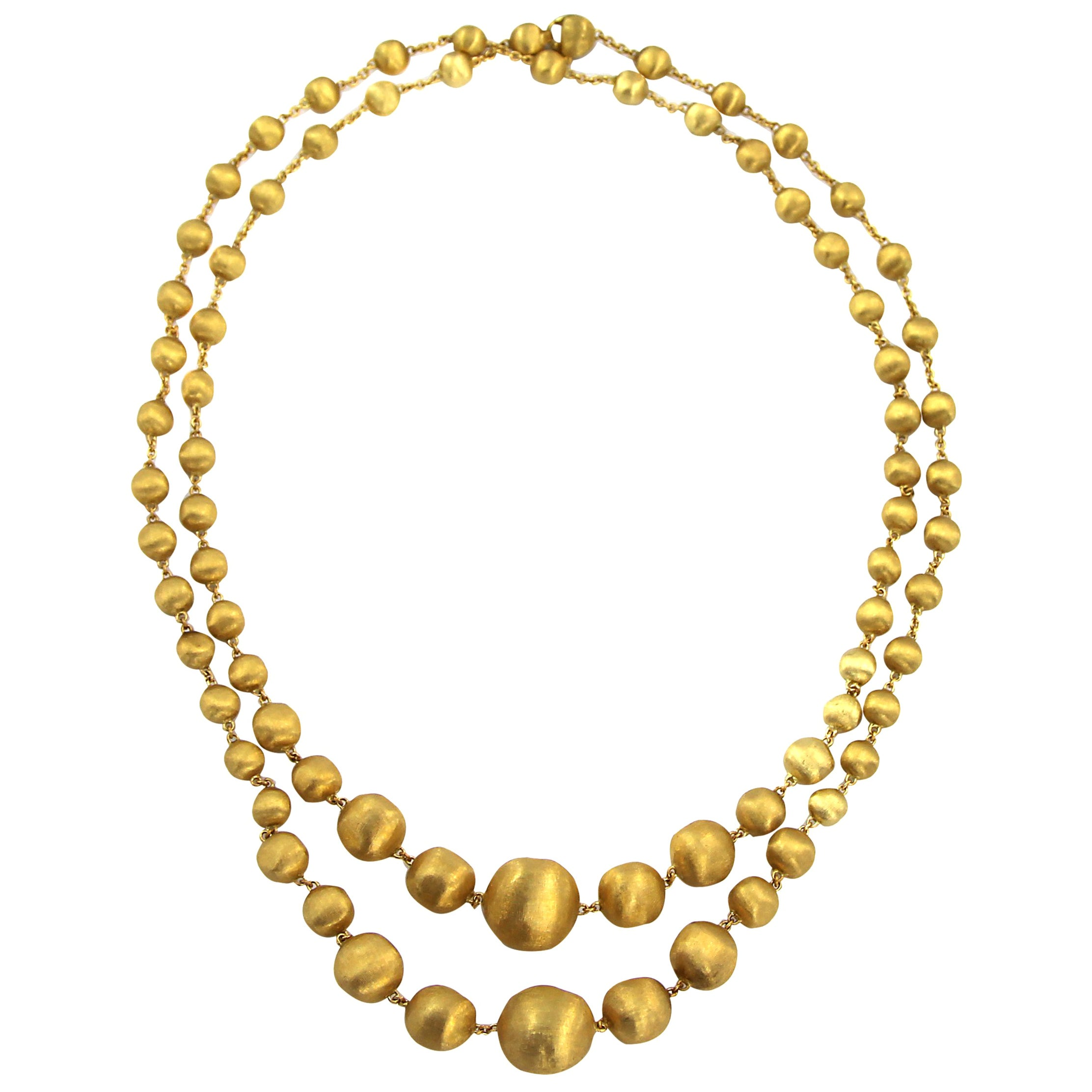 afaa037ba04525 Marco Bicego Africa 18 ct Gold Graduated Long Single, Double Wave Bead  Necklace at 1stdibs