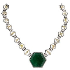 Set in 18 Karat Gold, 70.04 Carat, Natural Zambian Emerald and Diamond Necklace