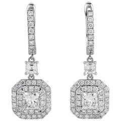 2.15 Carat Natural White Princess Cut Natural Diamond 18 Karat Gold Earrings