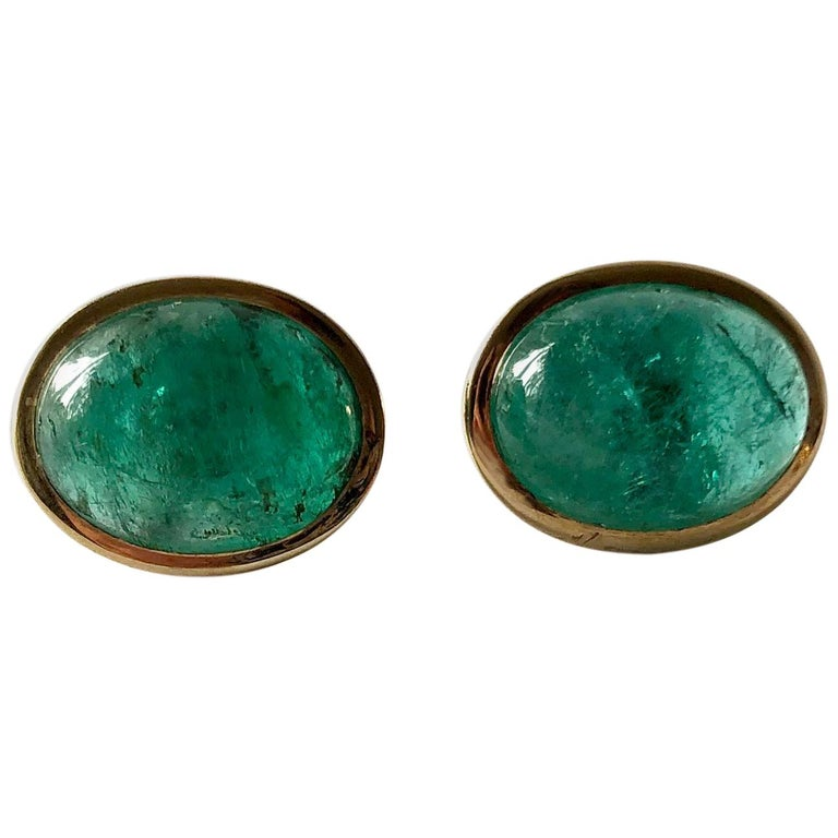 1950s Gold Oval Emerald Cabochon Pierced Earrings For Sale