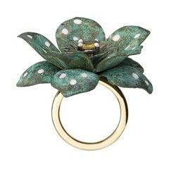 18 Carat Yellow Gold, Verdigris Brass, Rhodium, Enamel and Sapphire Flower Ring