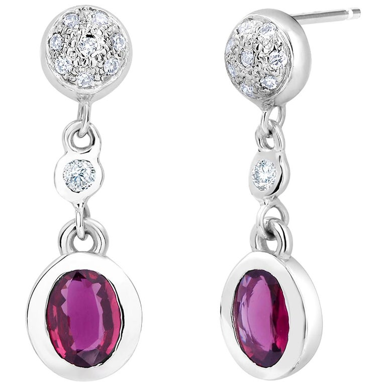 Ruby and Diamond Gold Drop Earrings For Sale