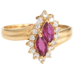 Vintage Ruby Diamond Ring 18 Karat Gold Small Cocktail Marquise Estate Jewelry